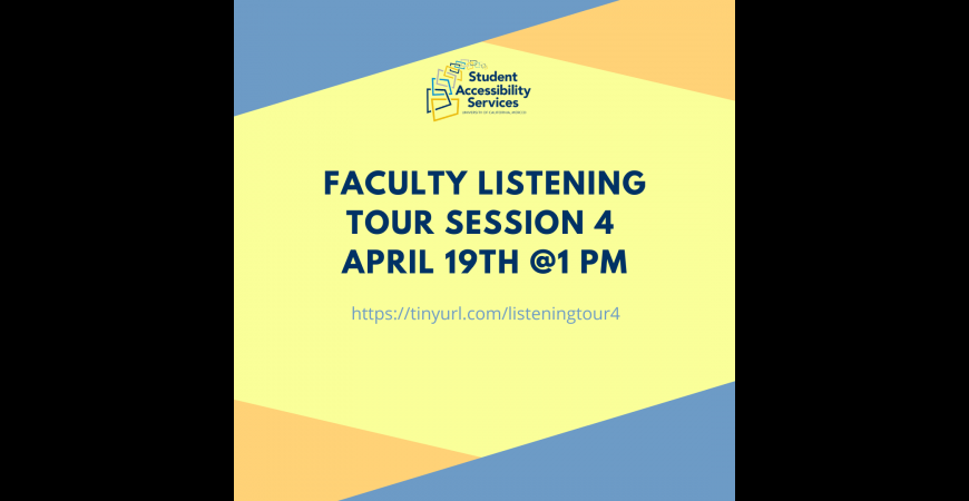 Faculty Listening Tour Session 4 - April 19th at 1pm